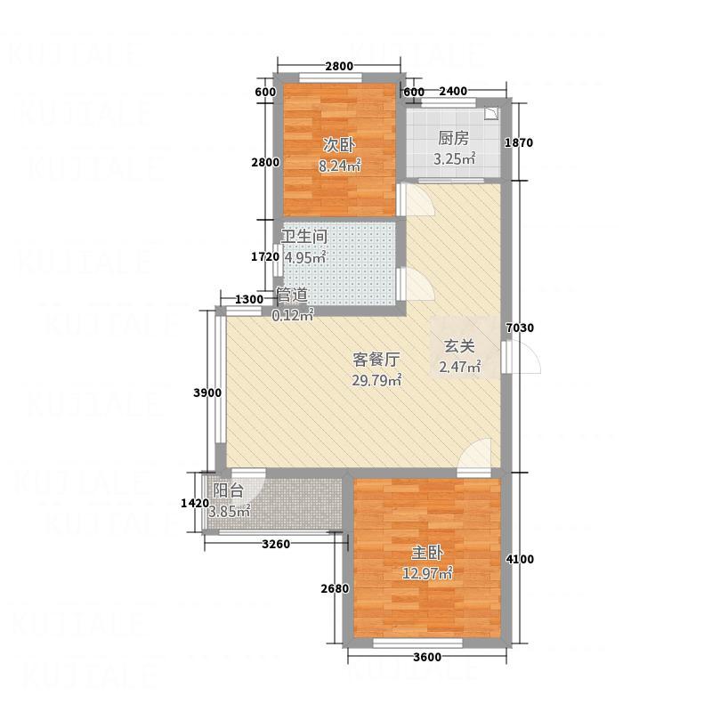 宏运新城87.58㎡D6户型2室2厅1卫1厨