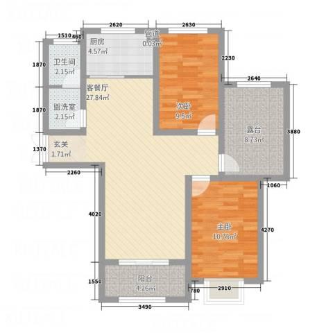 左岸国际2室2厅1卫1厨2212.00㎡户型图