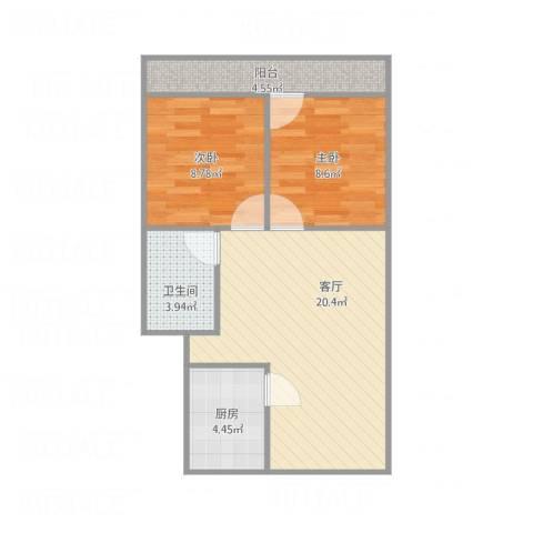 馨园小区2室1厅1卫1厨69.00㎡户型图