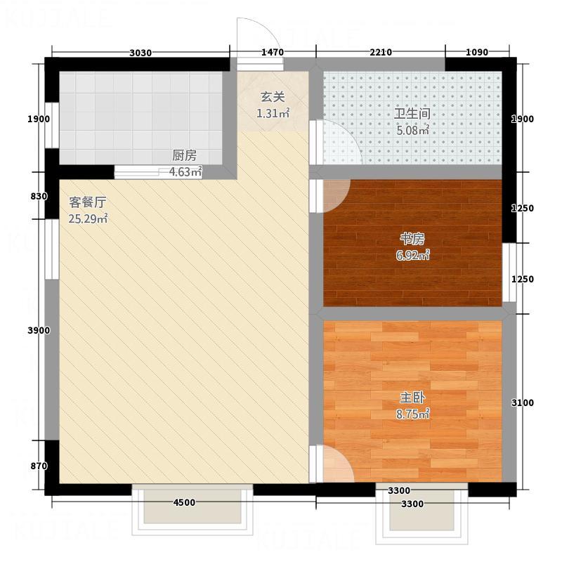 家园小区二期8.64㎡R7855户型2室2厅1卫