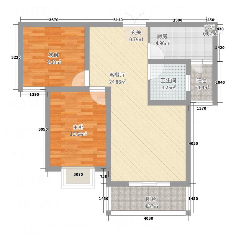 左岸国际2287.20㎡A户型2室2厅1卫1厨