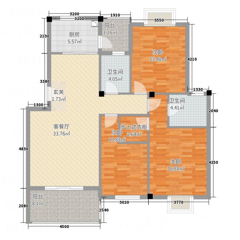 鸿鑫佳苑144.00㎡户型3室