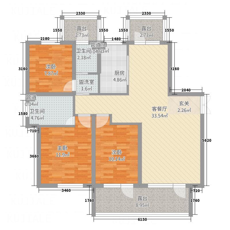 海马公馆132.00㎡B2六层--户型3室2厅2卫1厨