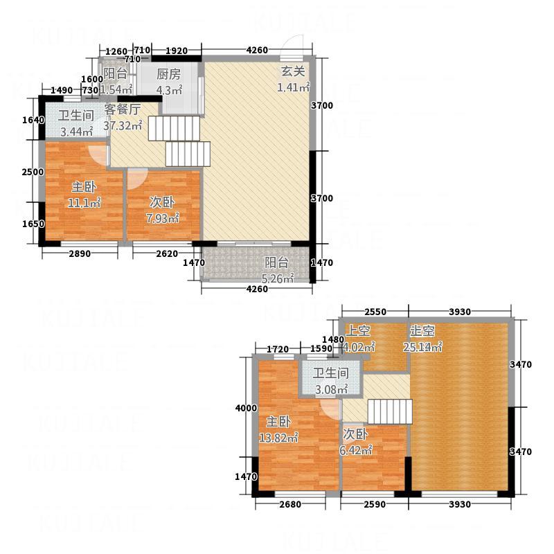 首誉111.00㎡3错层复式户型4室2厅2卫1厨