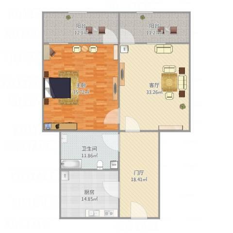 天成集团宿舍1室1厅1卫1厨181.00㎡户型图