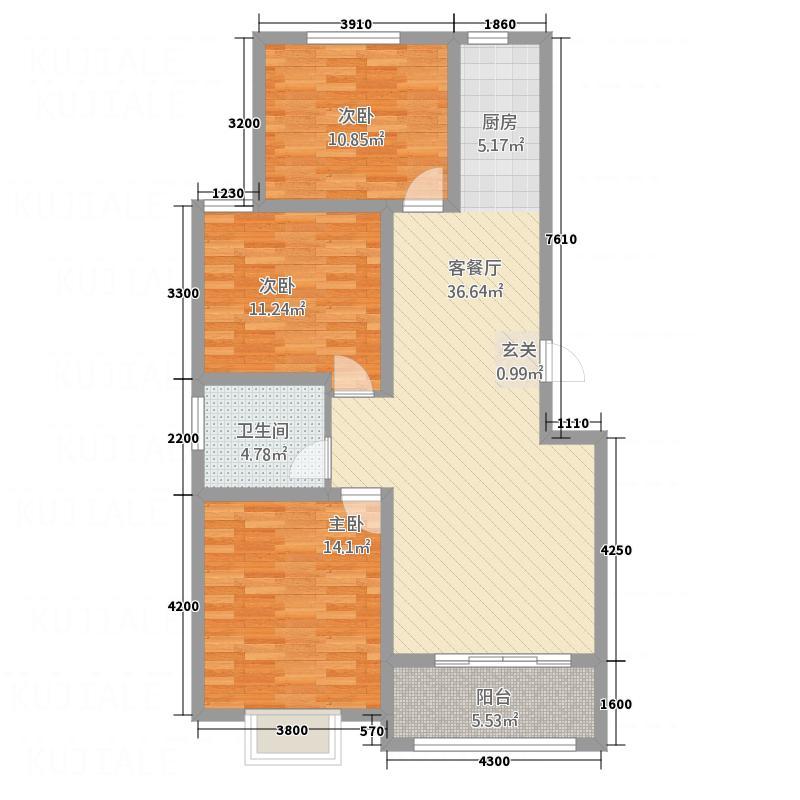 �水御园17.00㎡B1户型3室2厅1卫1厨