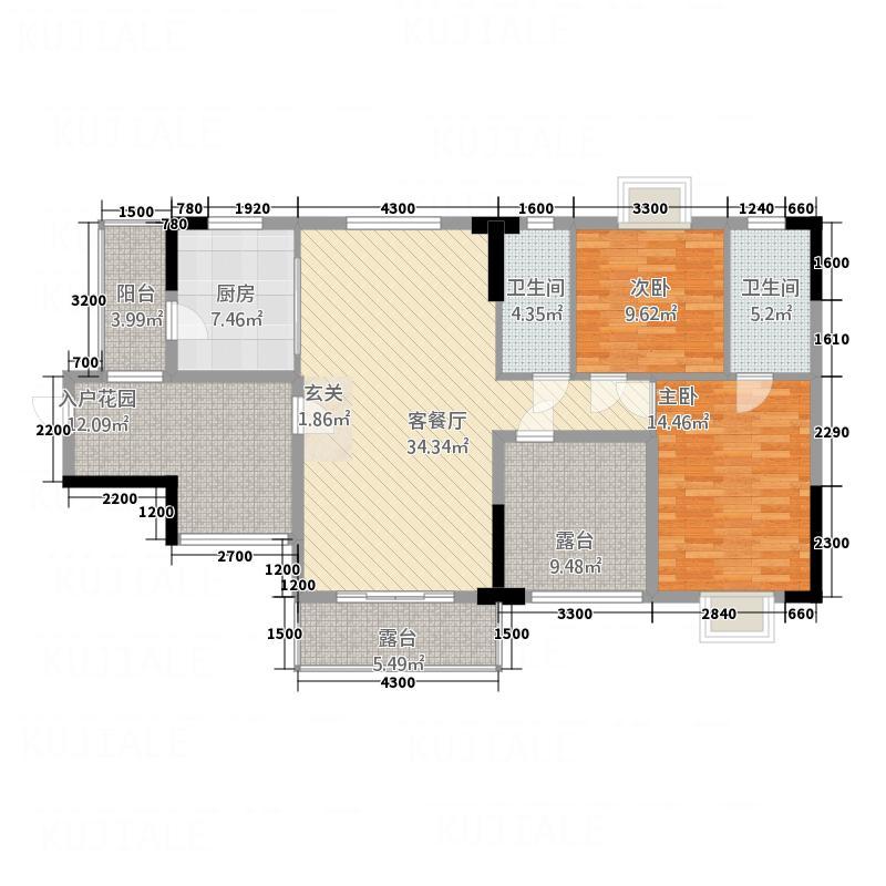 富城御园123.60㎡7#01户型2室2厅2卫1厨