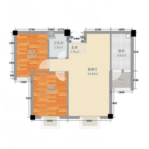 东晖御庭苑2室1厅1卫1厨54.07㎡户型图
