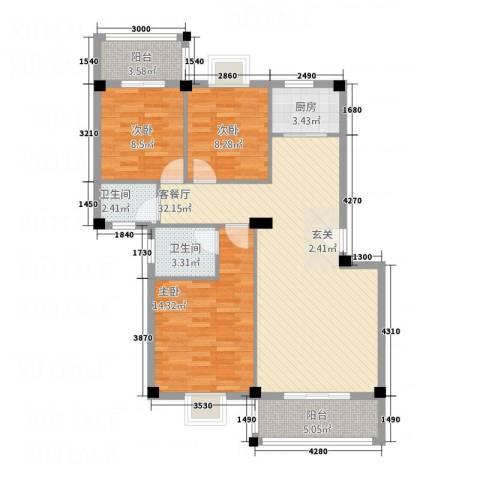 华清中心城三期3室1厅2卫1厨115.00㎡户型图