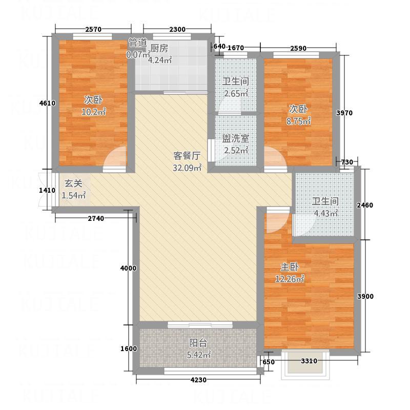左岸国际3211.20㎡F户型3室2厅2卫1厨