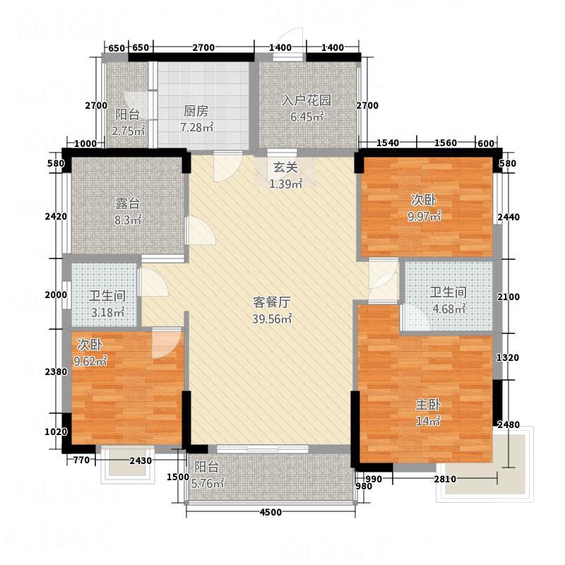 富城御园133.30㎡1#02户型3室2厅2卫1厨