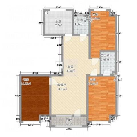 宏运新城3室1厅2卫1厨92.44㎡户型图