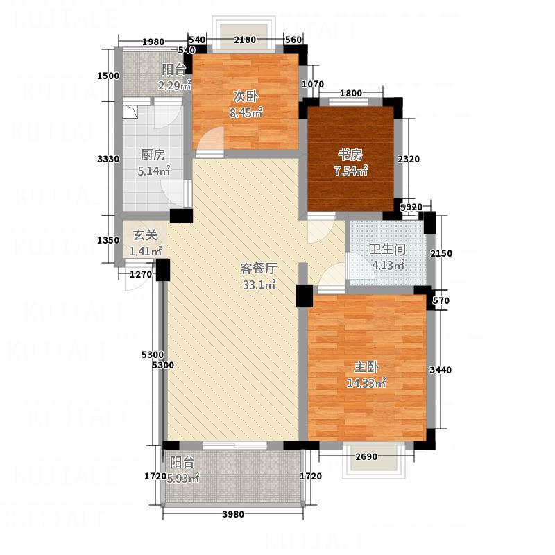 禾嘉名邸7.78㎡I型户型3室2厅1卫1厨