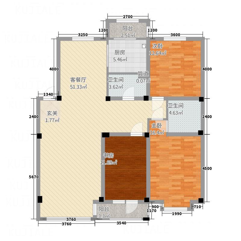 宏运新城138.52㎡C11户型3室2厅2卫1厨
