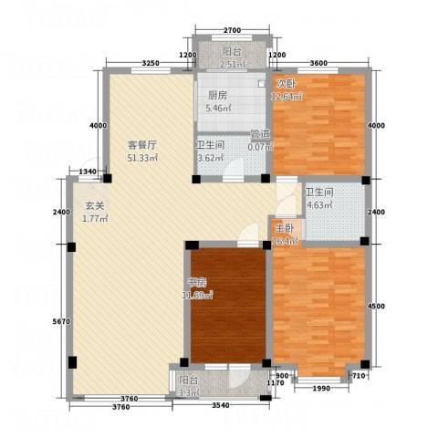 宏运新城3室1厅2卫1厨139.00㎡户型图