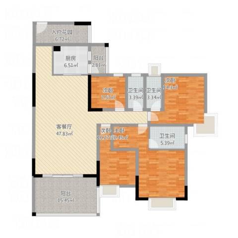 华英城三期4室1厅3卫1厨206.00㎡户型图