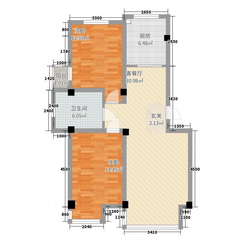 宏运新城2.67㎡B10户型2室2厅1卫1厨