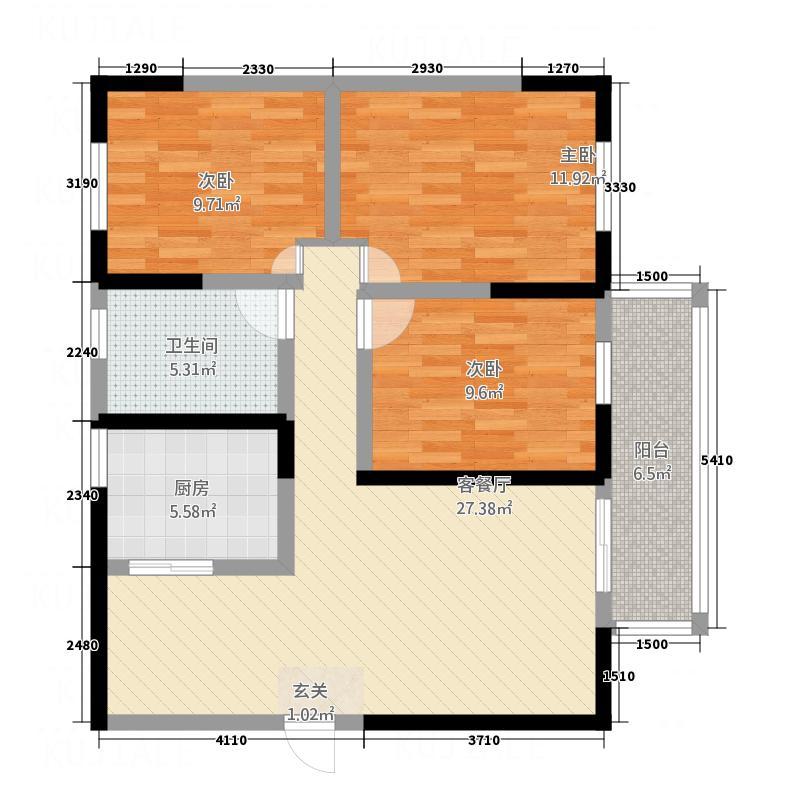家园小区二期18.52㎡P10574户型3室2厅1卫