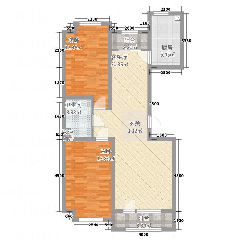 宏运新城12.60㎡D5户型2室2厅1卫1厨