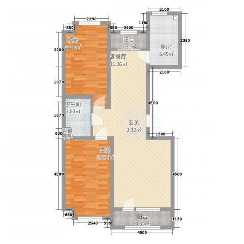 宏运新城2室1厅1卫1厨72.84㎡户型图