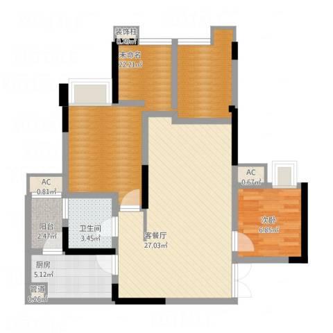 国奥村二期1室1厅1卫1厨102.00㎡户型图