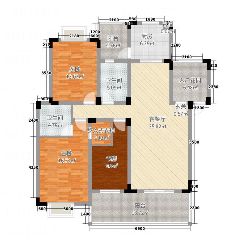 禾嘉名邸134.88㎡G型户型3室2厅2卫1厨