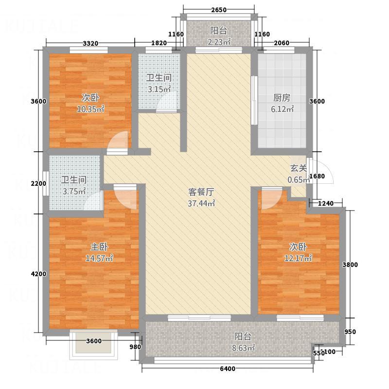 �水御园124.00㎡C3户型3室2厅2卫1厨