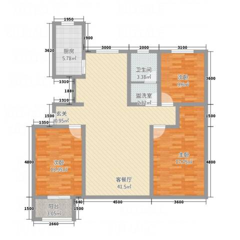 金辰香溪丽舍3室2厅1卫1厨139.00㎡户型图