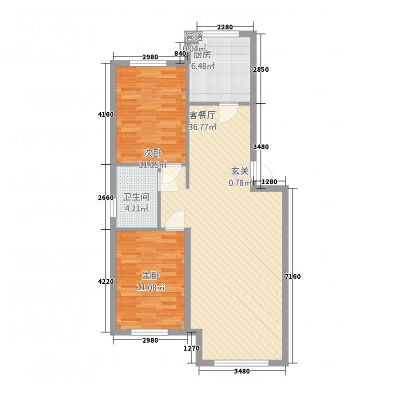 兴源・蓝海左岸F91户型2室2厅1卫1厨