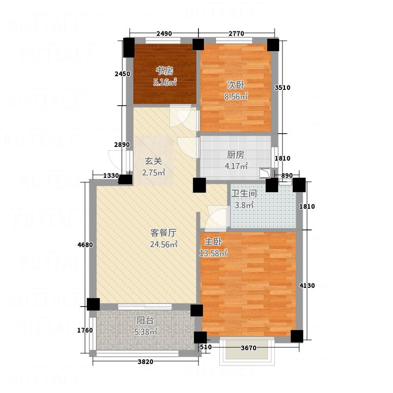 林城―兰乔圣菲3.20㎡兰乔圣菲2户型3室2厅1卫