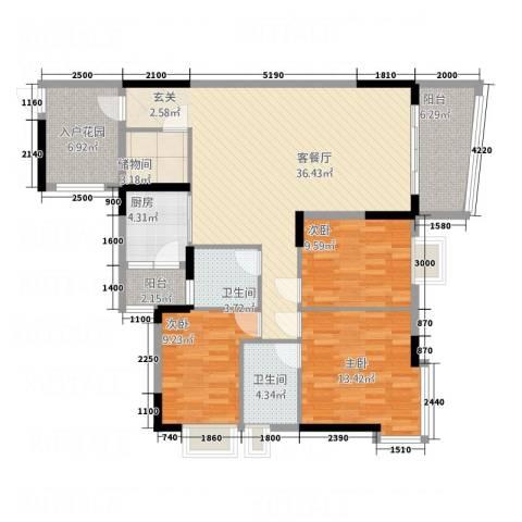 凯旋居3室1厅2卫1厨126.00㎡户型图