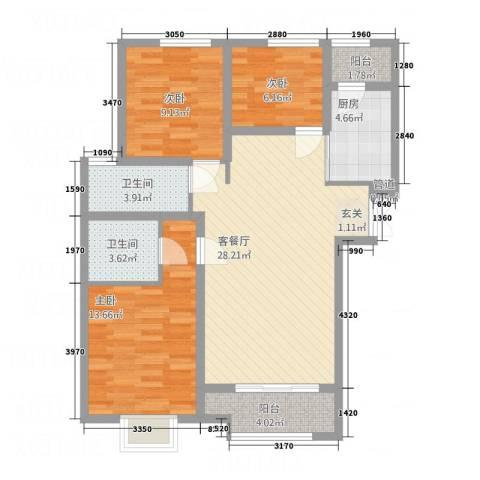 乐活城市3室1厅2卫1厨75.20㎡户型图