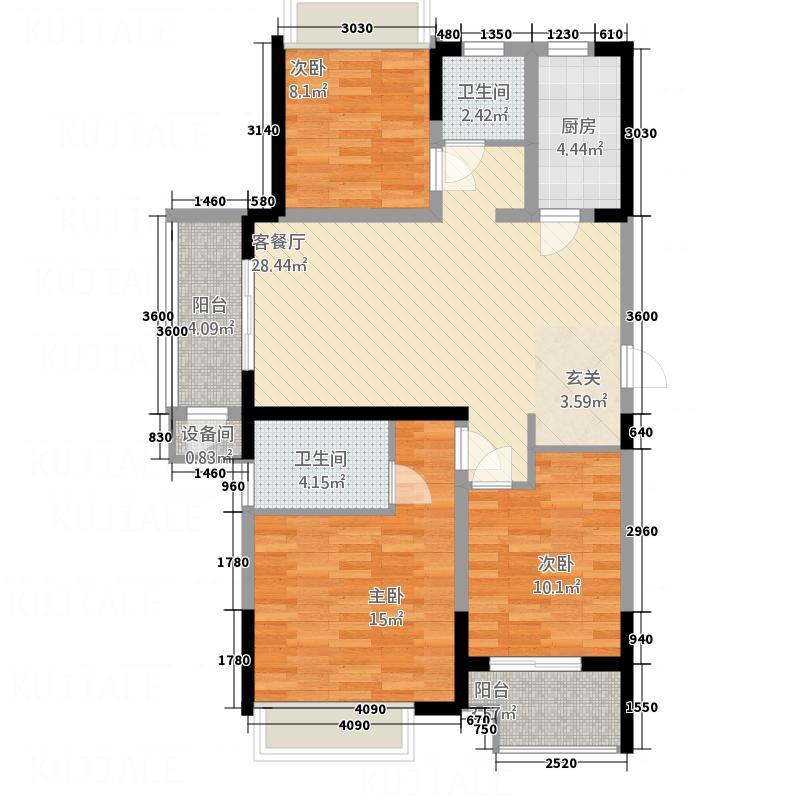 诚城・三英里118.00㎡E-1约1189~户型3室2厅2卫1厨