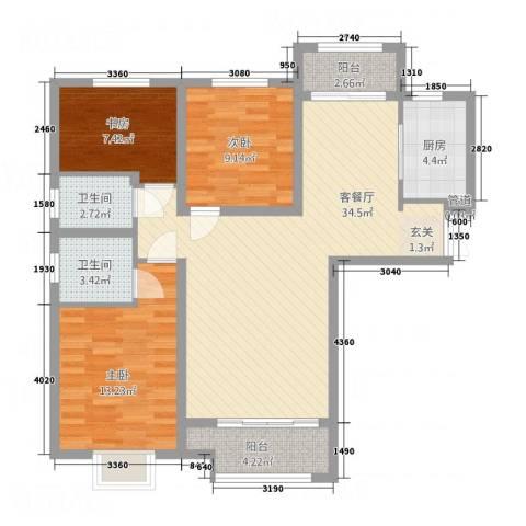 乐活城市3室1厅2卫1厨3118.00㎡户型图