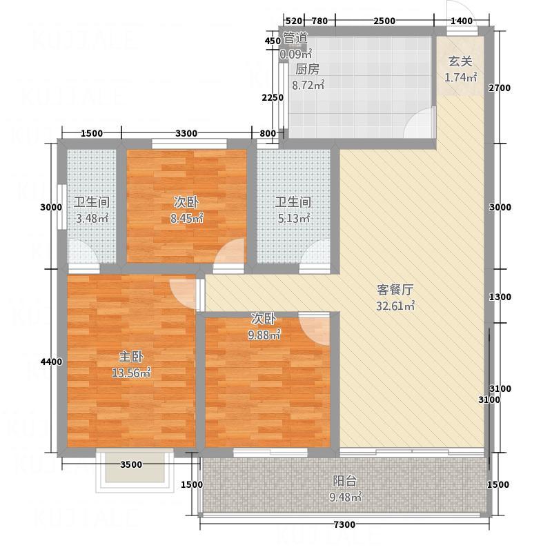 西江雅苑118.50㎡B户型3室2厅2卫1厨