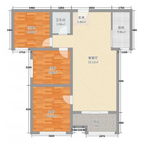 南华康城二期3室1厅1卫1厨117.00㎡户型图