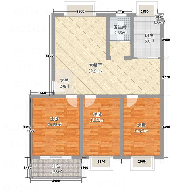 汇泽国际城117.73㎡B户型3室2厅1卫1厨