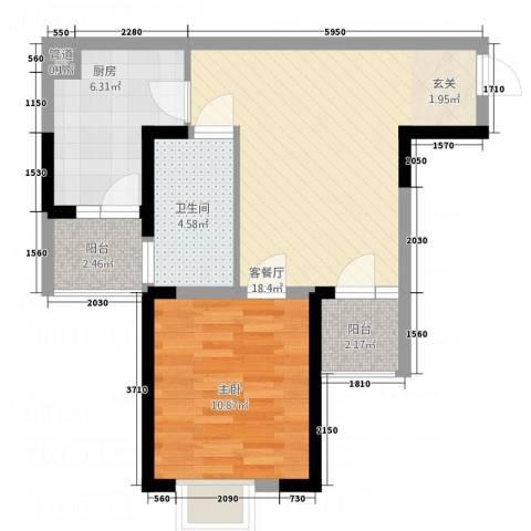 华民公寓1室1厅1卫1厨66.00㎡户型图