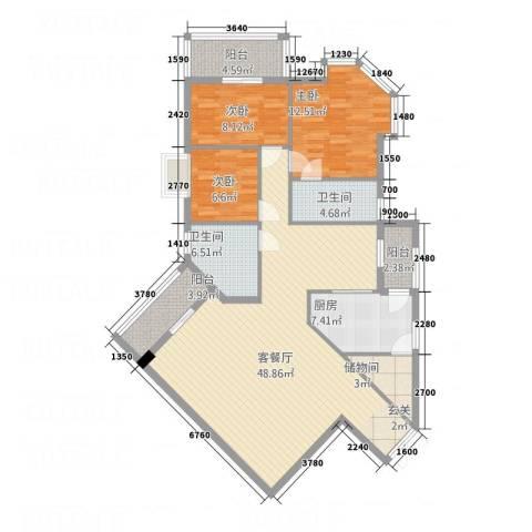 汇豪大厦3室1厅2卫1厨152.00㎡户型图