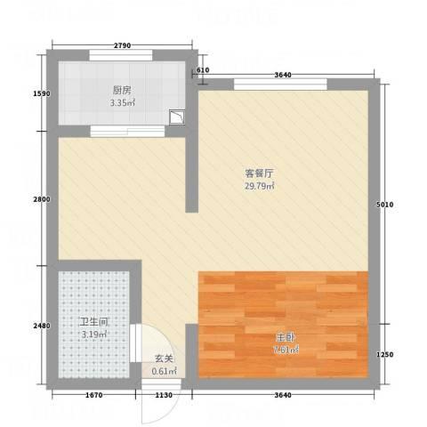 武城新镇1厅1卫1厨42.00㎡户型图