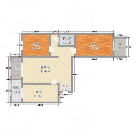 武城新镇2室2厅1卫1厨101.05㎡户型图