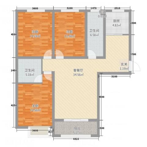 南华康城二期3室1厅2卫1厨140.00㎡户型图