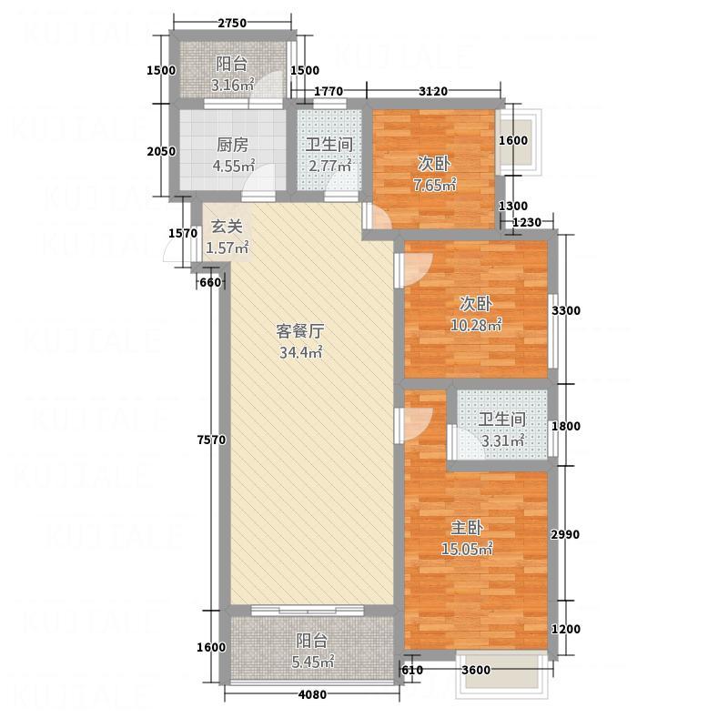 南屏苑115.70㎡2号楼2单元3号户型3室2厅2卫1厨
