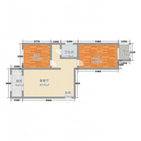武城新镇2室1厅1卫1厨78.16㎡户型图