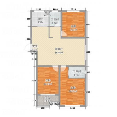 南华康城二期3室1厅2卫1厨132.00㎡户型图