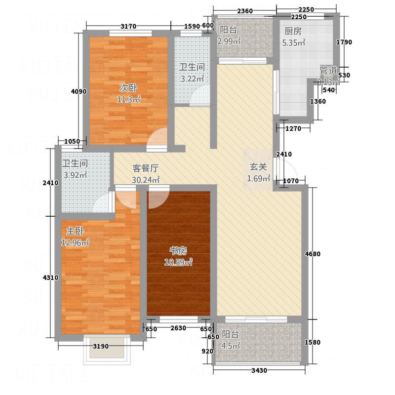 月湾湖东岸・丰泽园124.46㎡月湾湖户型3室2厅2卫1厨