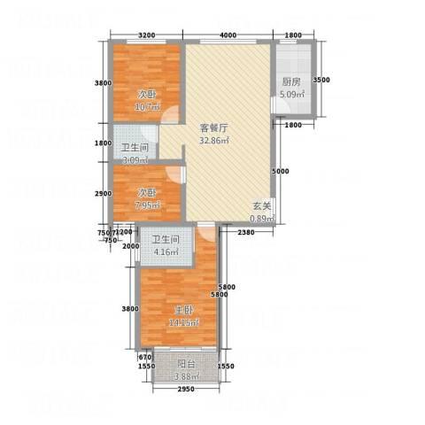 南华康城二期3室1厅2卫1厨116.00㎡户型图