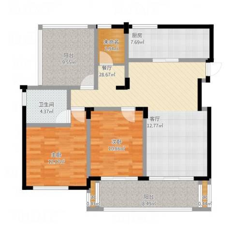 中节能生态岛2室1厅1卫1厨124.00㎡户型图