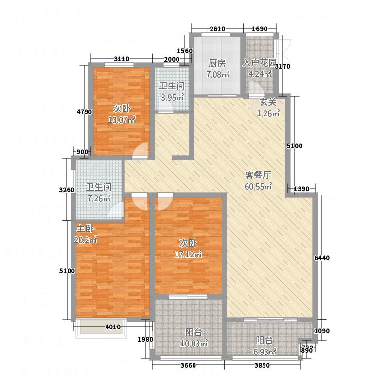 月湾湖东岸・丰泽园123.46㎡月湾湖户型3室2厅2卫1厨