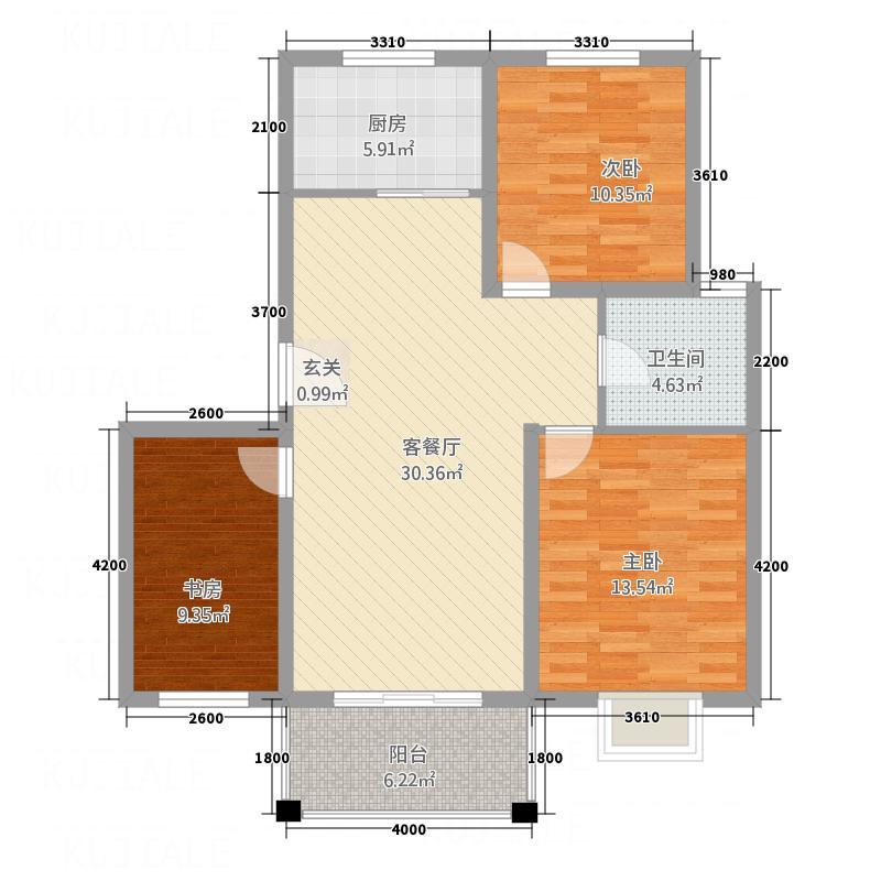 西城锦湖36.20㎡户型3室2厅1卫1厨